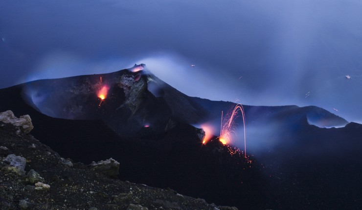 Constantly active volcano on the island of Stromboli Sicily Italy