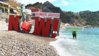 Greenpeace activists protest in Taormina during G7
